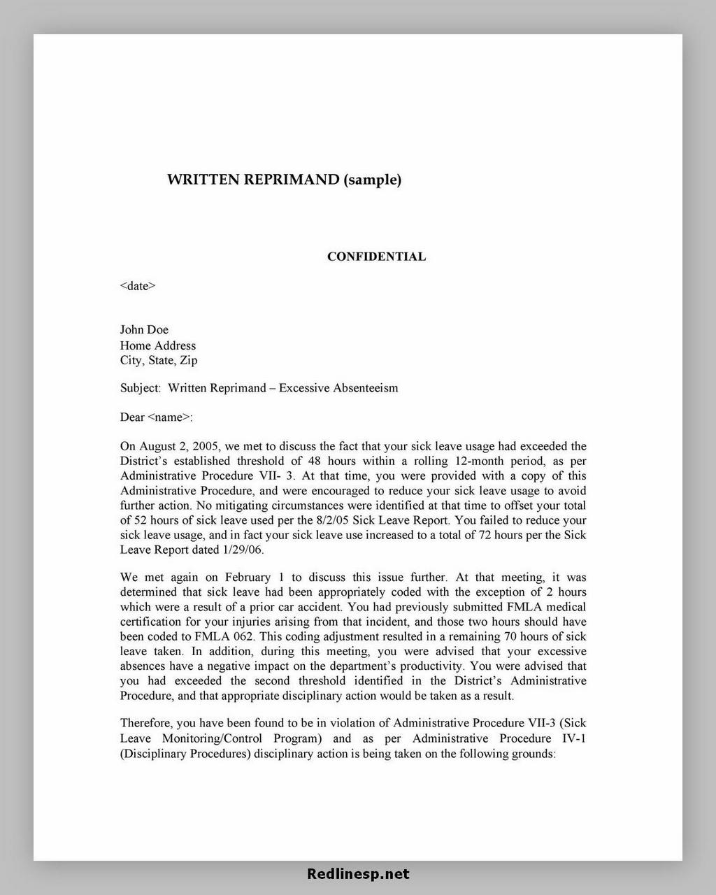 letter of reprimand 25