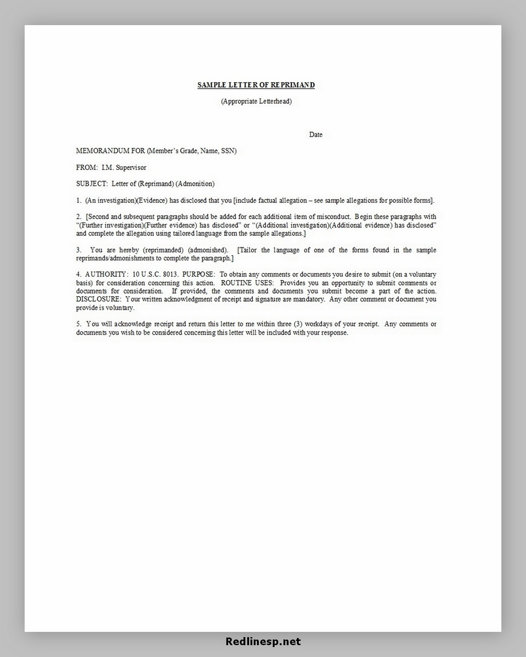 letter of reprimand 38