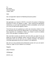 Rejection Letter For Job 22
