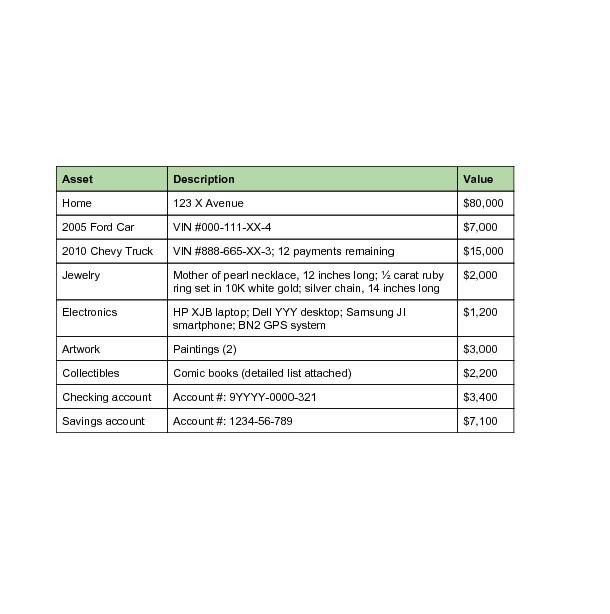 personal asset list