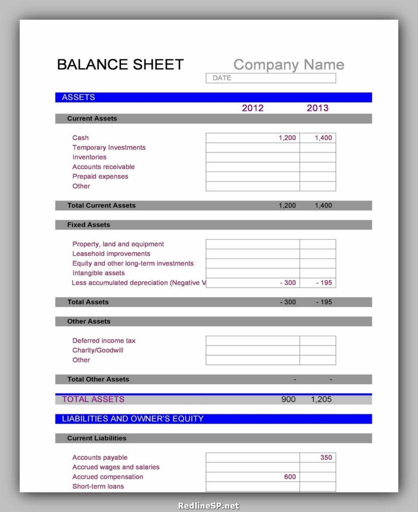 Balance Sheet Template 13