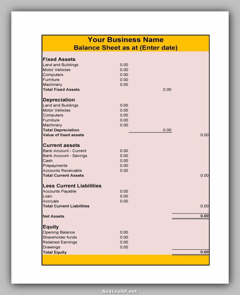 Balance Sheet Template 29