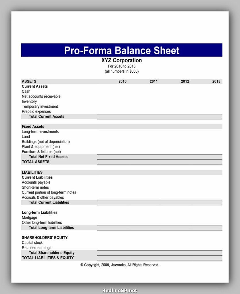 Balance Sheet proforma 15