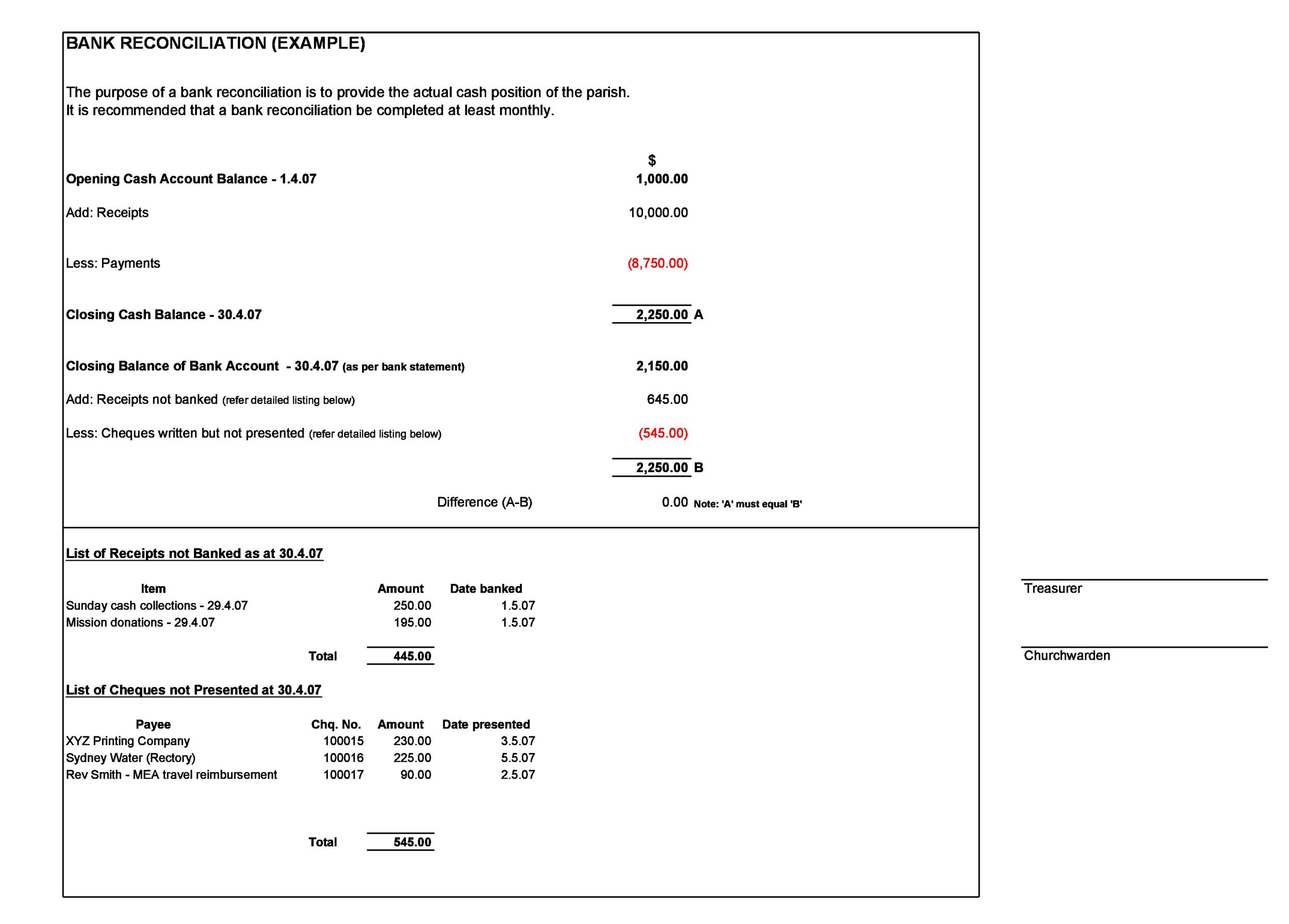 Bank Reconciliation Example 03