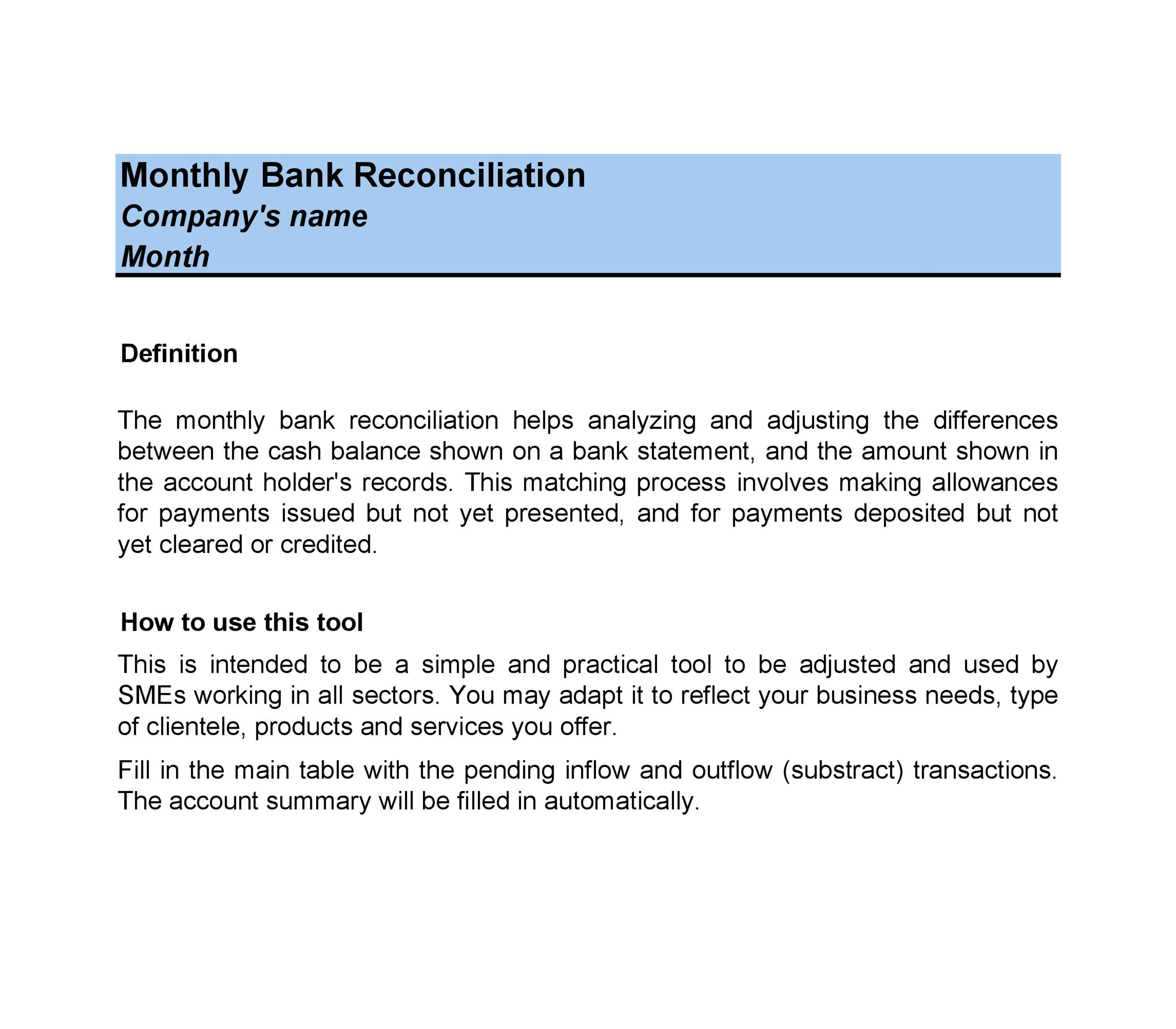 Bank Reconciliation Example 06