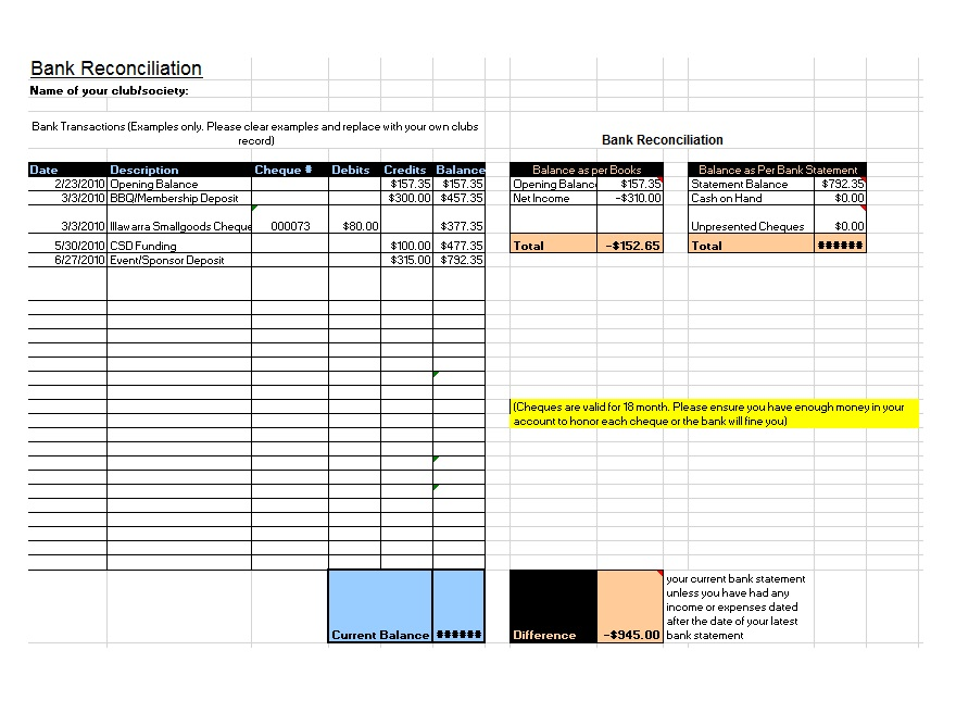 Bank Reconciliation Example 17