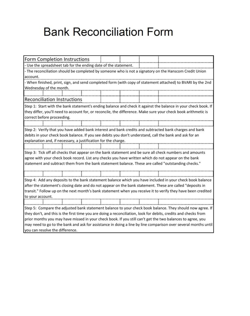 Bank Reconciliation Form 09
