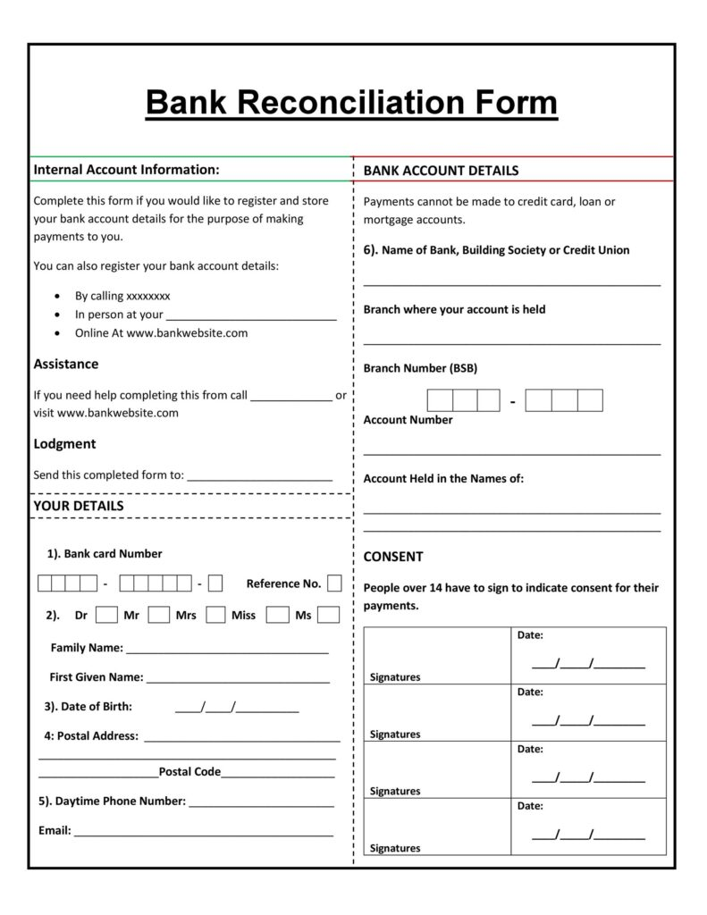 Bank Reconciliation Form 39
