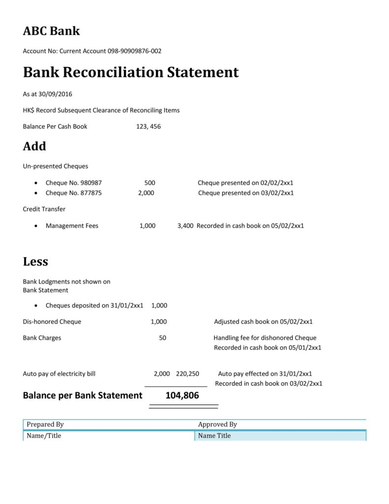 Bank Reconciliation Statement 38