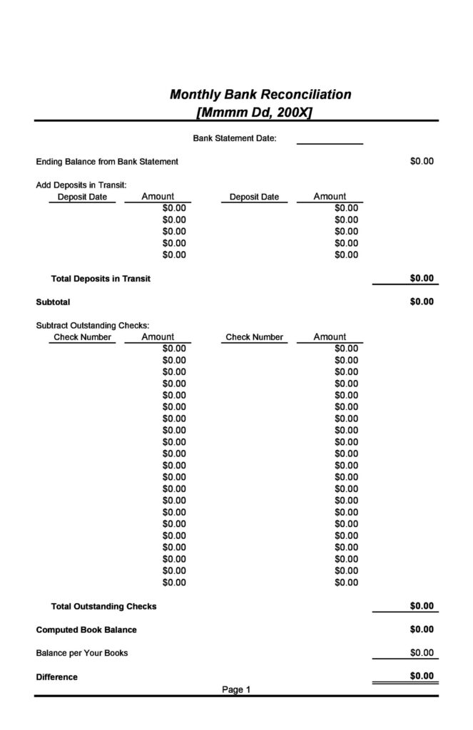 Bank Reconciliation Template 05