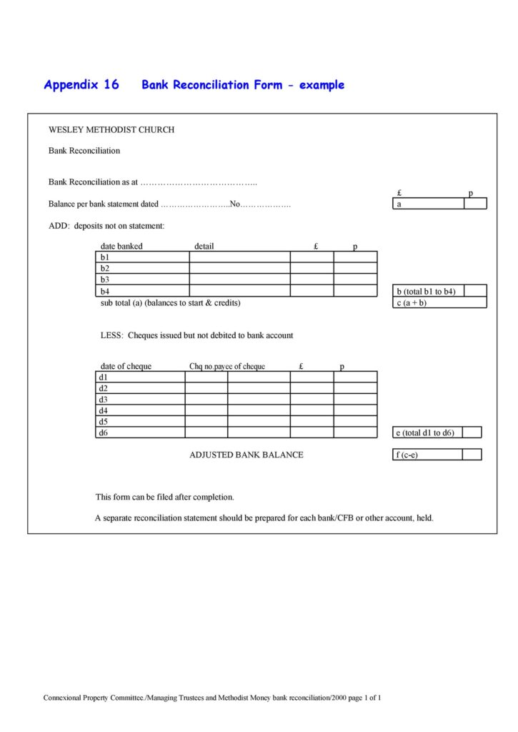 Bank Reconciliation Template 30