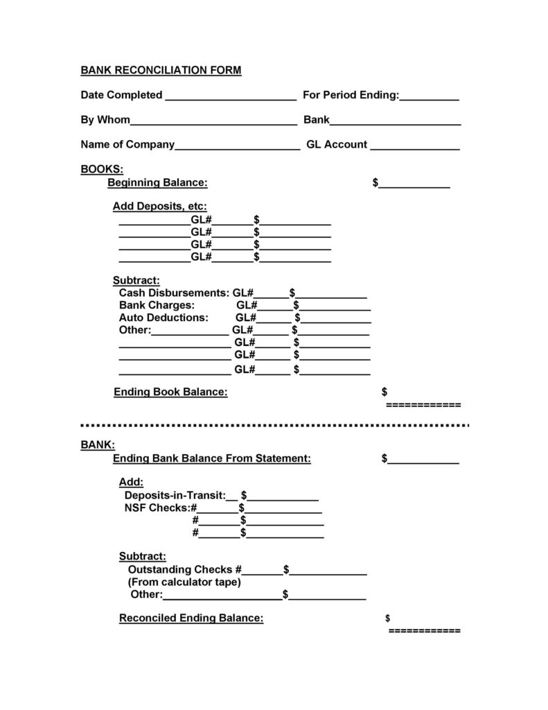 Bank Reconciliation Template 35