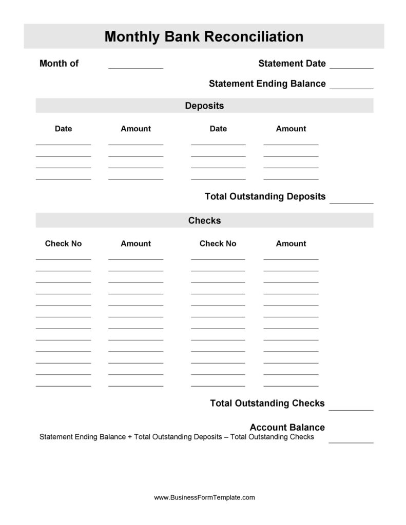 Bank Reconciliation Template 40