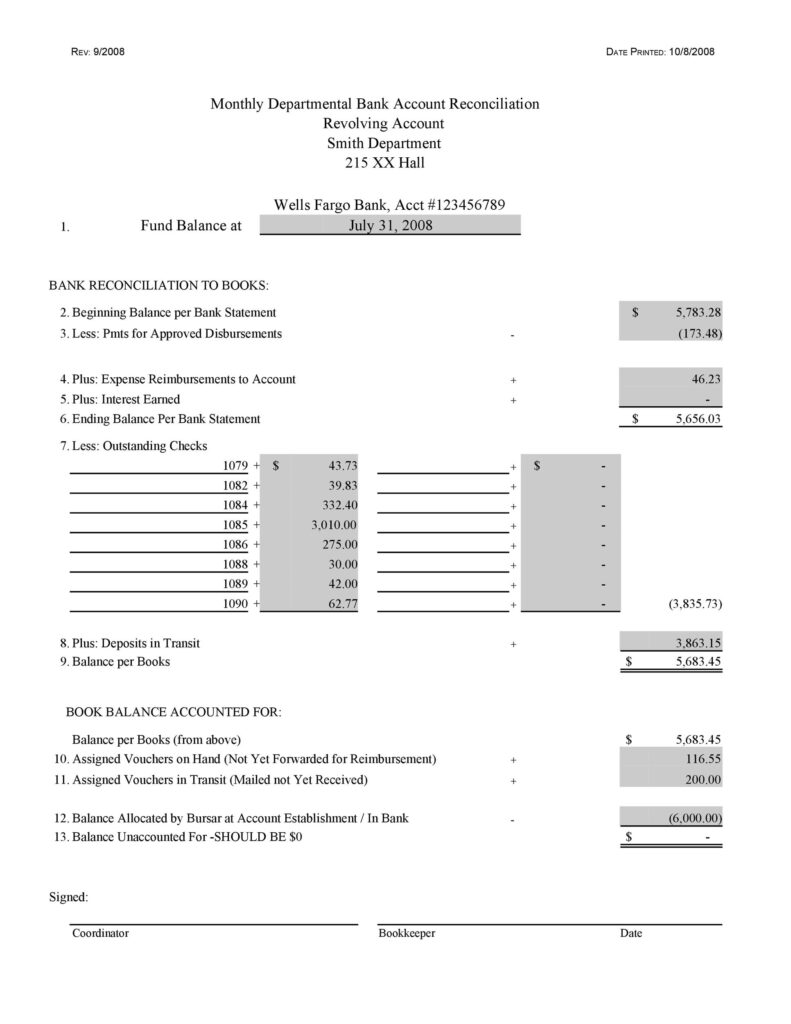 Bank Reconciliation Template 46