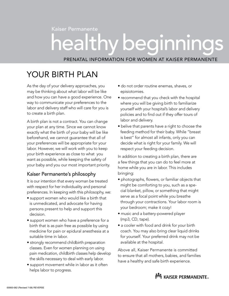 Birth Plan 20