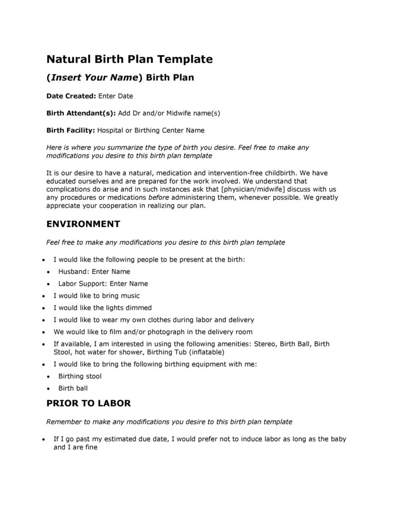 Birth Plan Printable 44