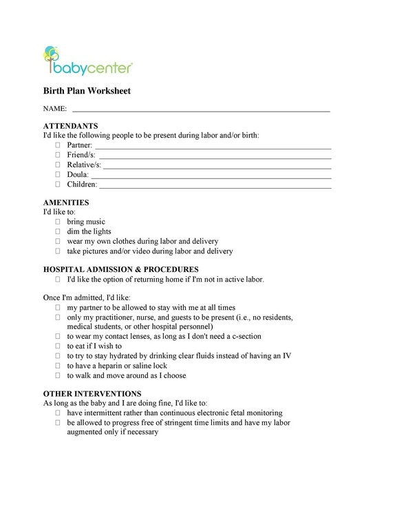 Birth Plan Worksheet 01