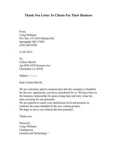 Buiness Thank You Letter 01