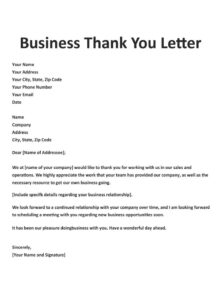 Buiness Thank You Letter