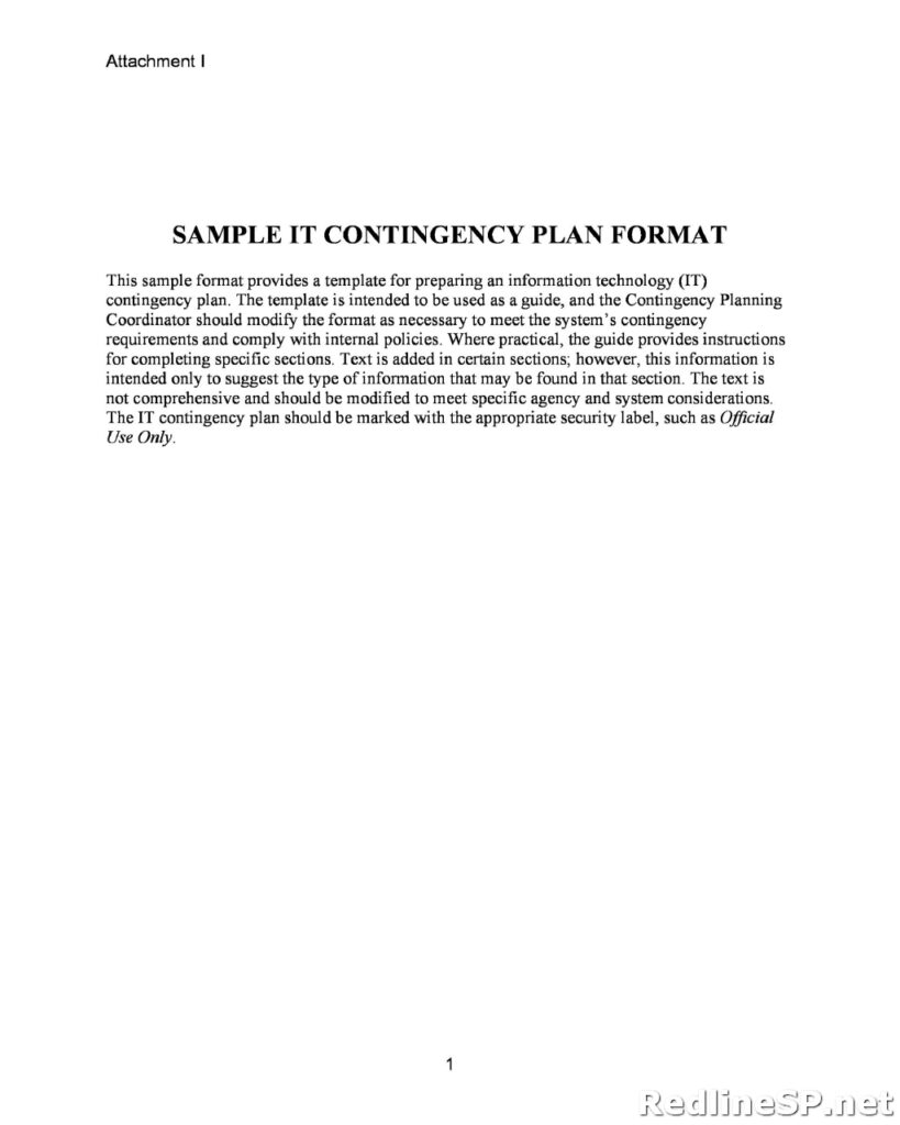 Contingency Plan Template 07