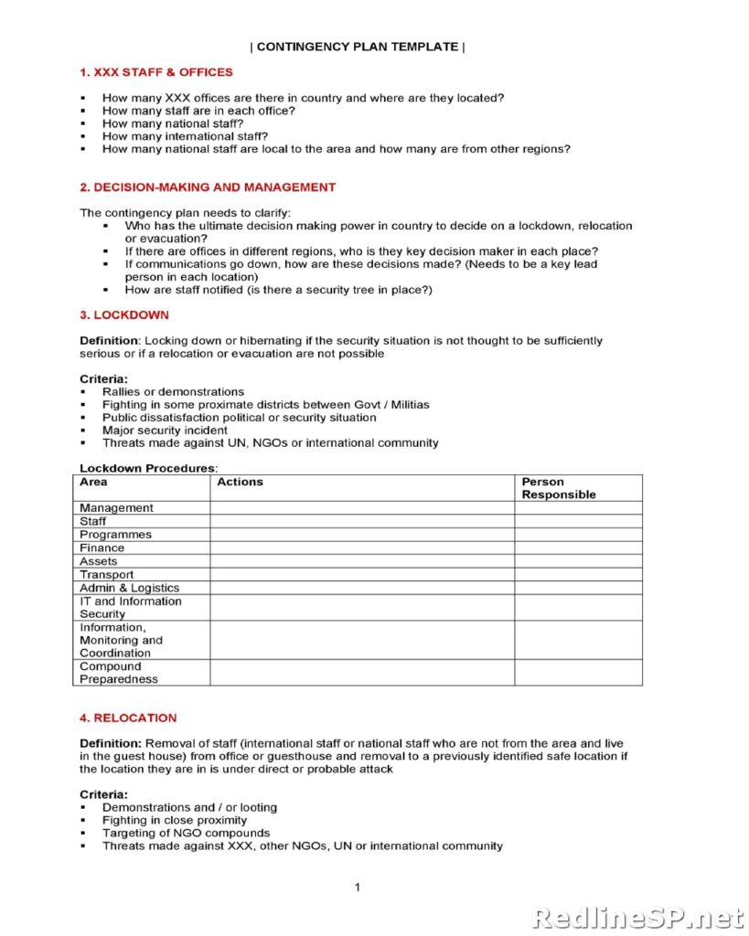 Contingency Plan Template 34