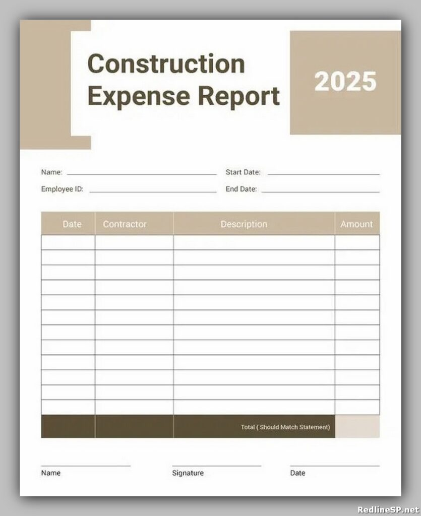 Contractor Expense Report Template