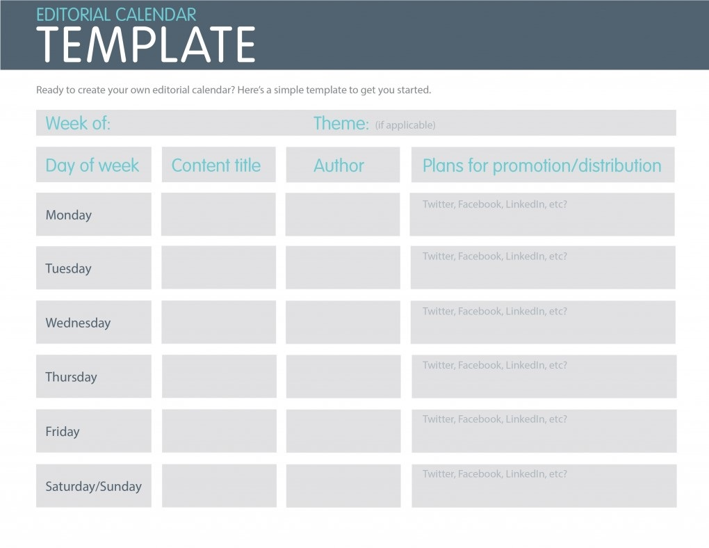 Editorial Social Media Calendar Template