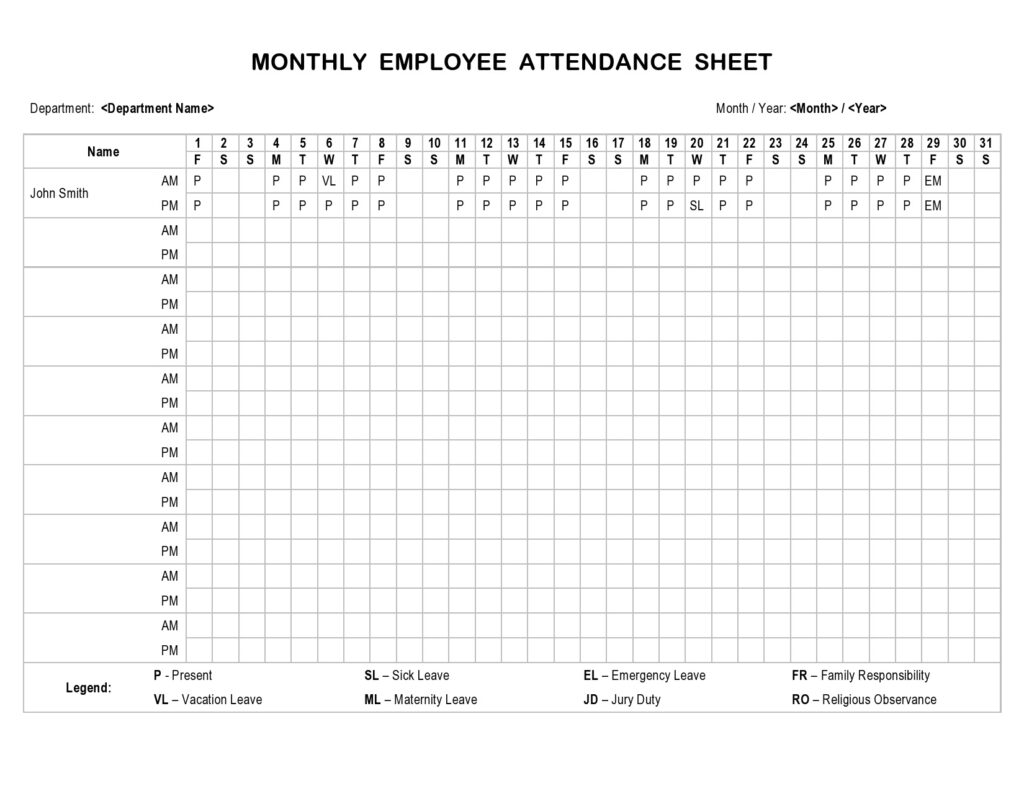Employee Attendance Sheet Monthly