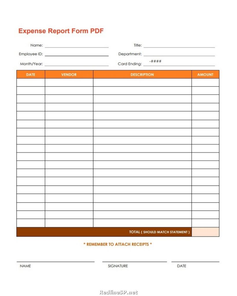 Expense Report Form Pdf