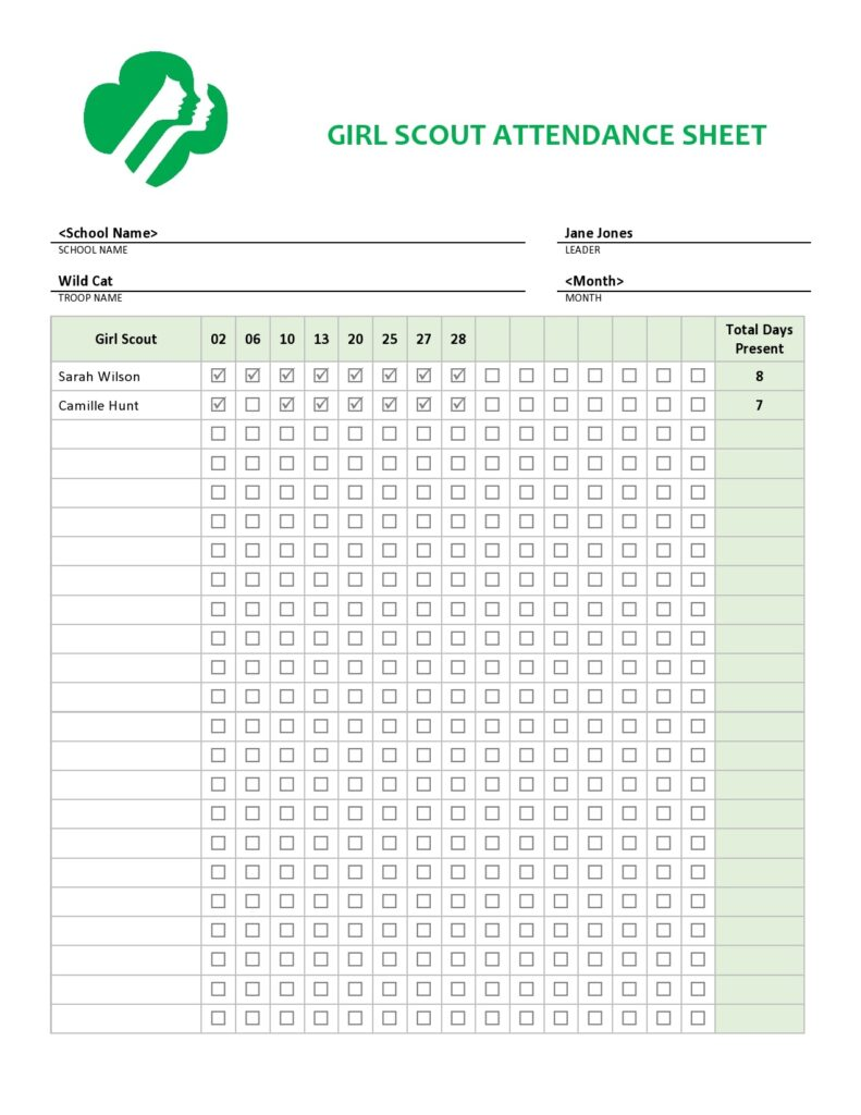 Girl Scout Attendance Sheet