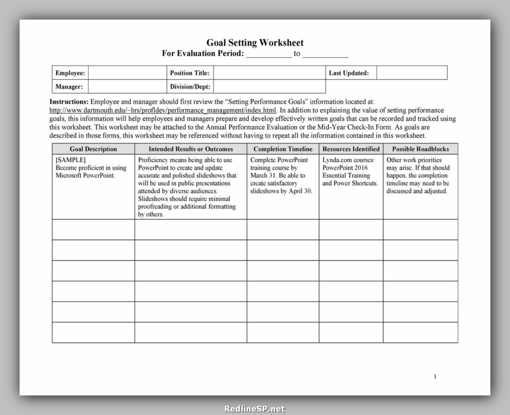 Goal Setting Template Excel 39