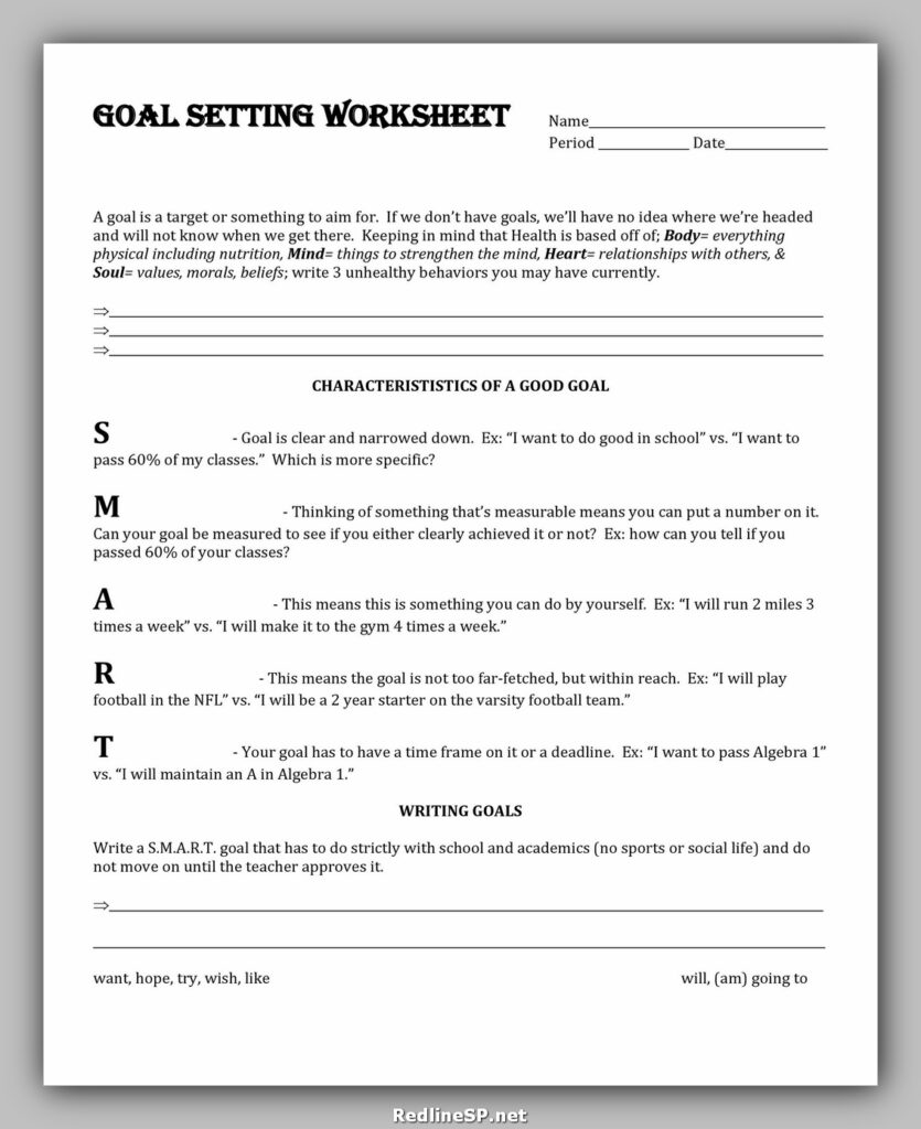 Goal Setting Worksheet 35