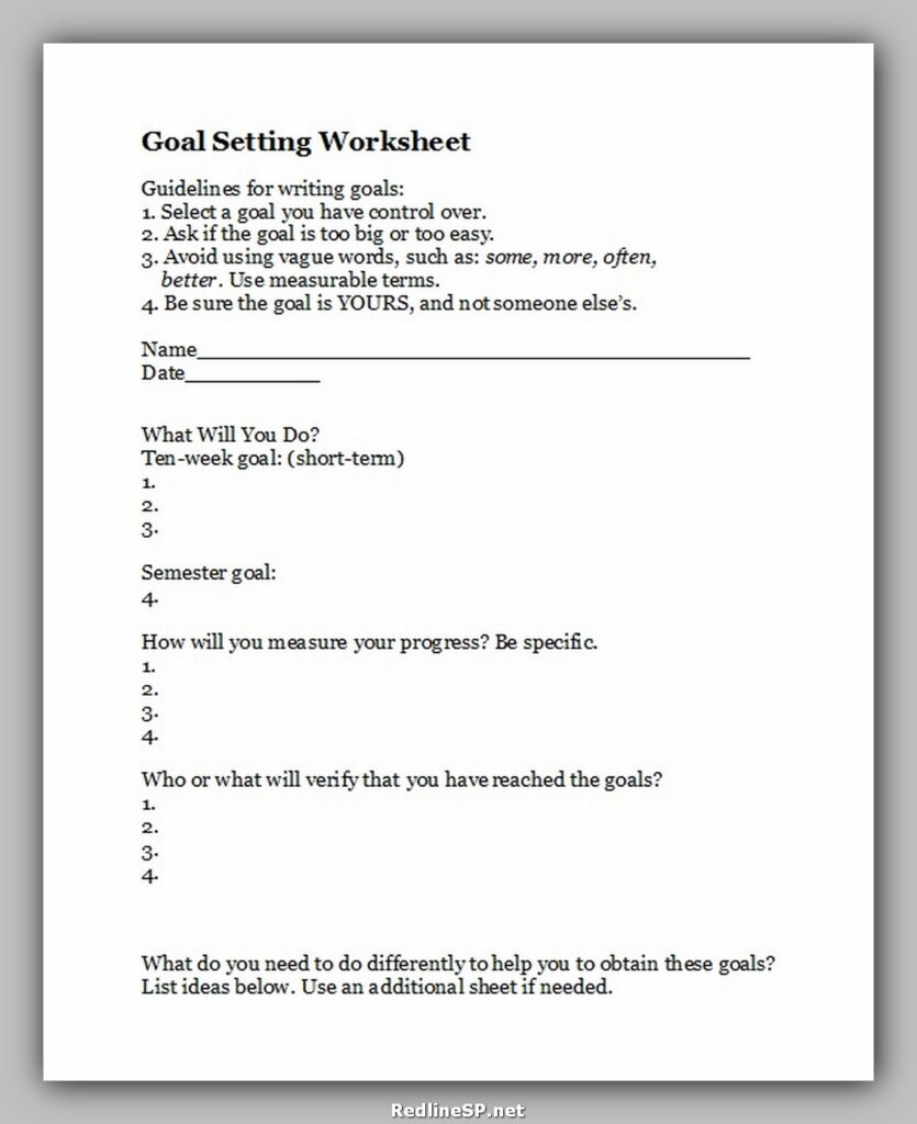 Goal Setting Worksheet 37
