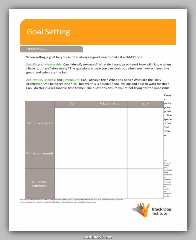 Goal Setting Worksheet 40