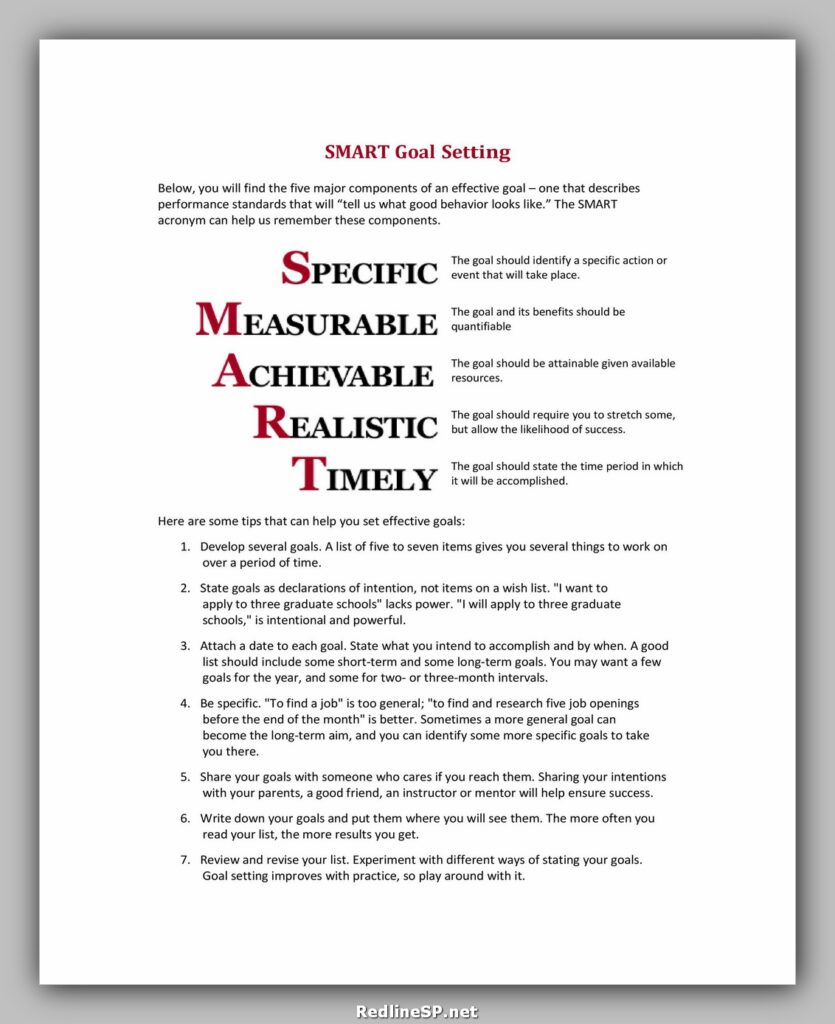 Goal Setting Worksheet Free 16
