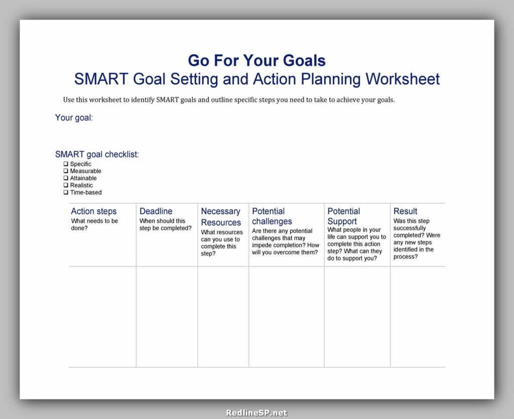 Goal Setting Worksheet Pdf 24