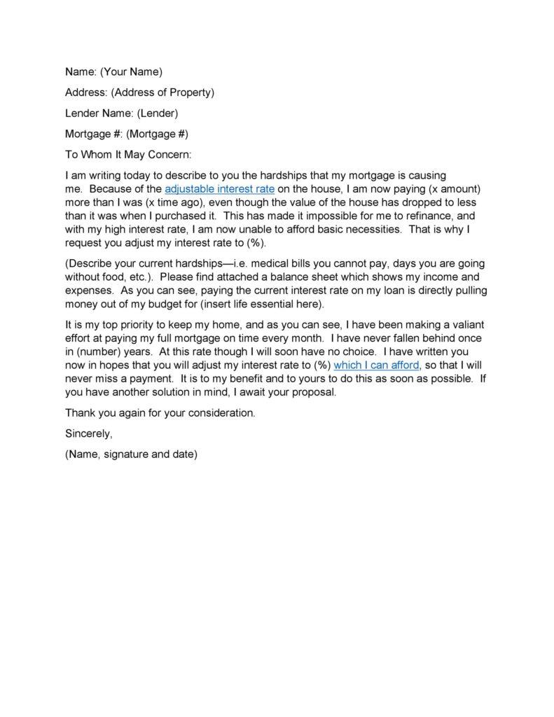 Hardship Letter Sample 17