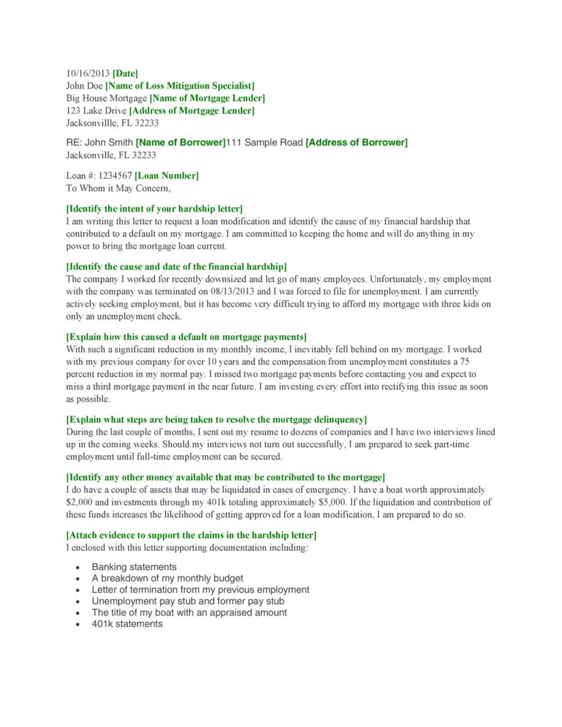 Hardship Letter Sample 18