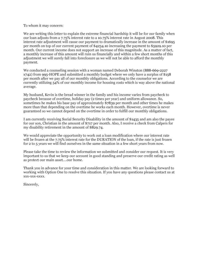 Hardship Letter Template 07