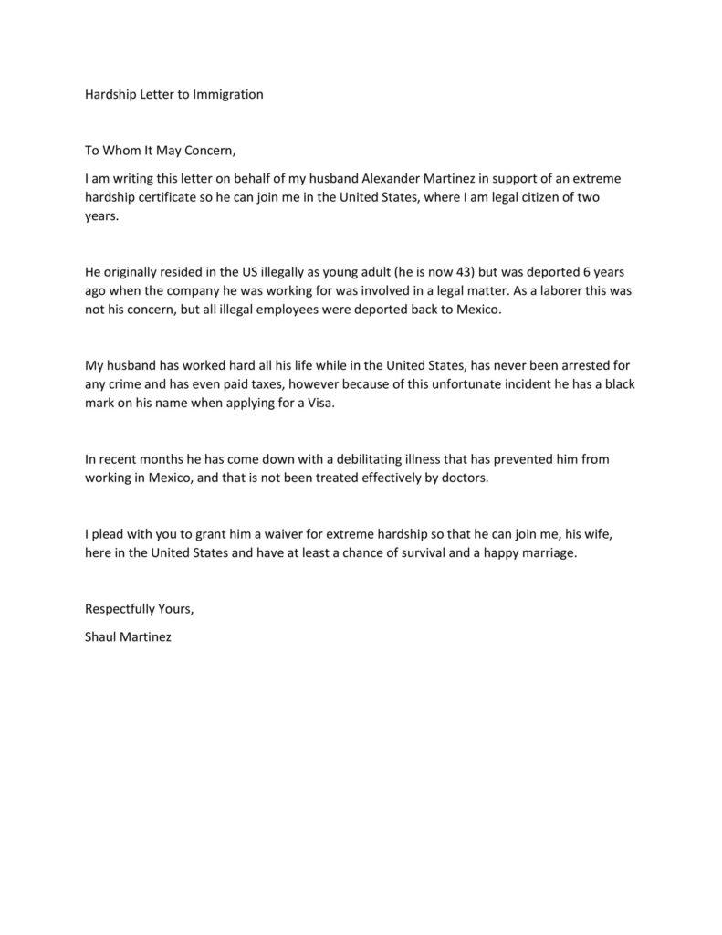 Hardship Letter Template 10