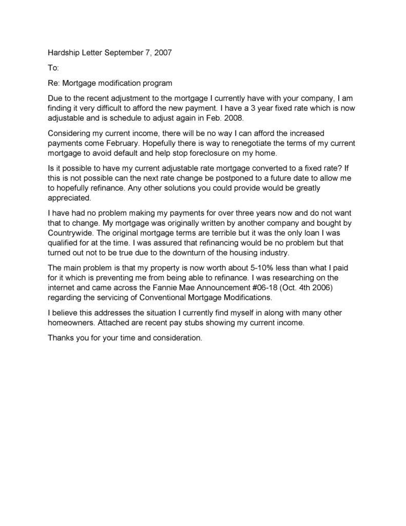 Hardship Letter Template 12