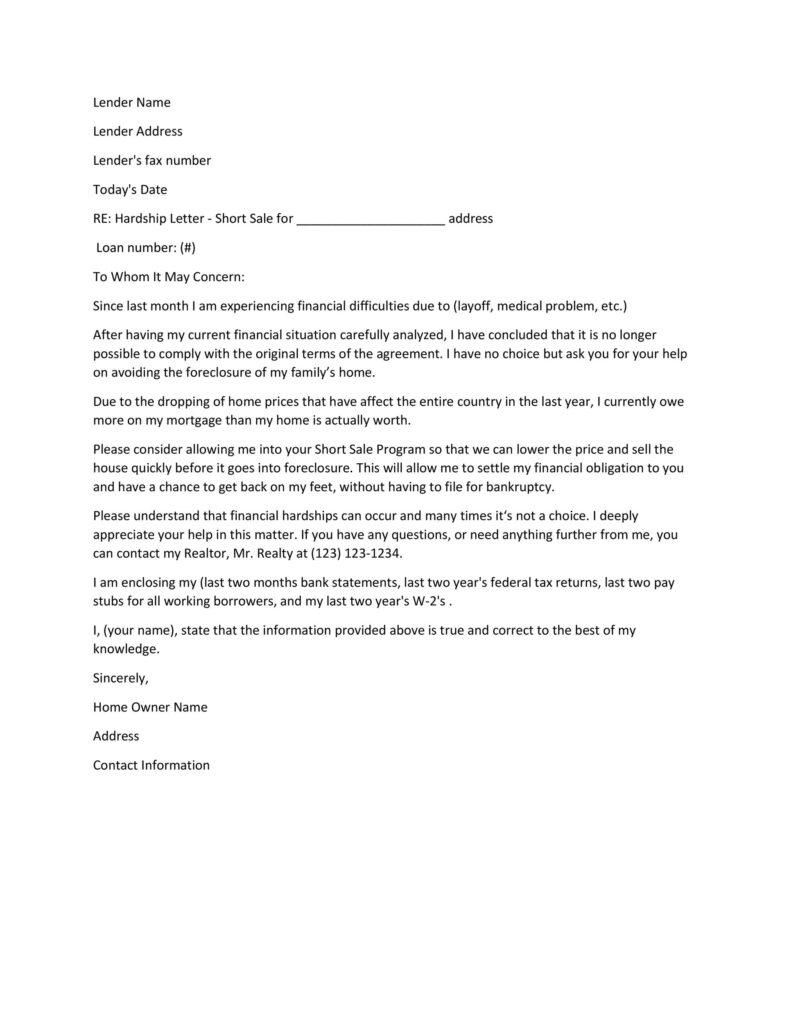 Hardship Letter Template 29