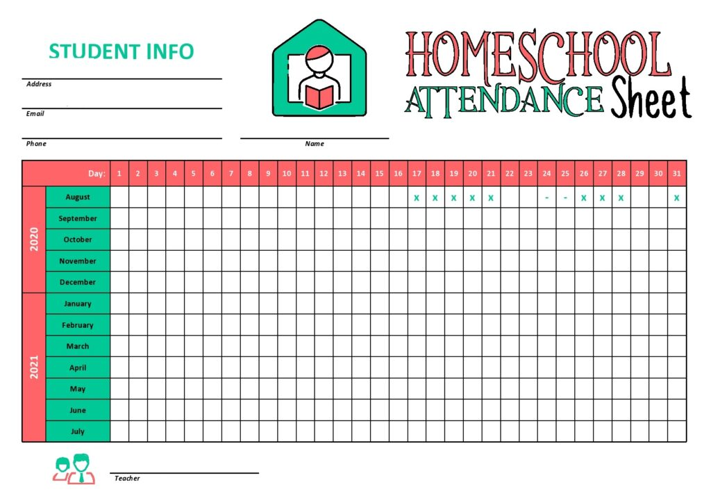 Homeschool Attendance Sheet