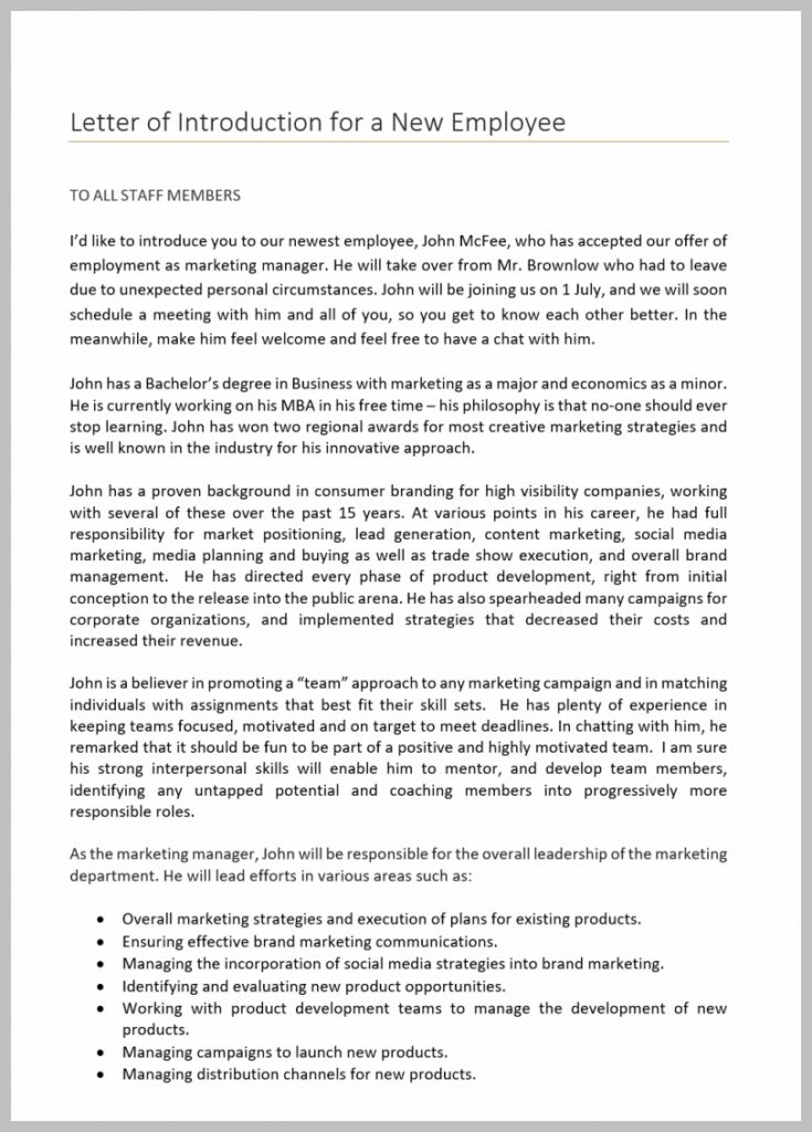 Letter of Introduction for a New Employee