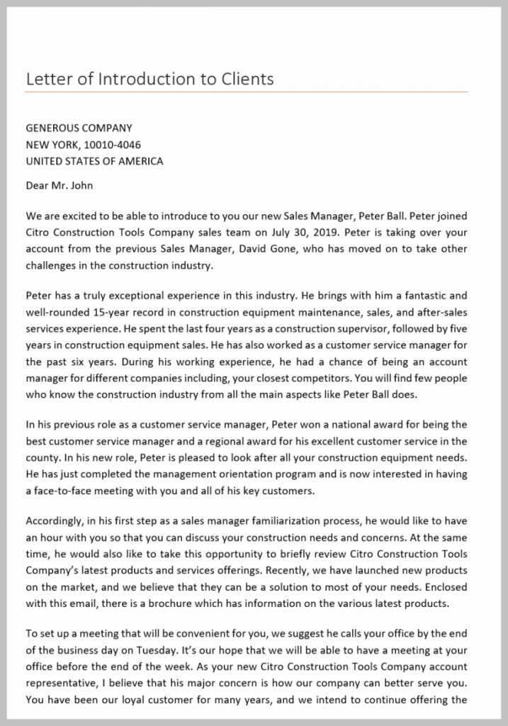 Letter of Introduction to Clients