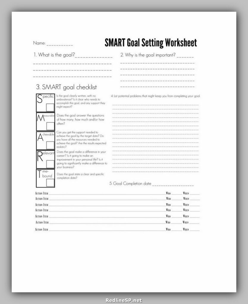 MART Goal Setting Worksheet