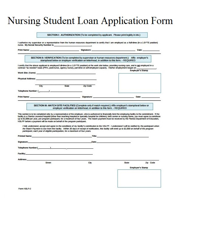 Nursing Student Loan Application Forms