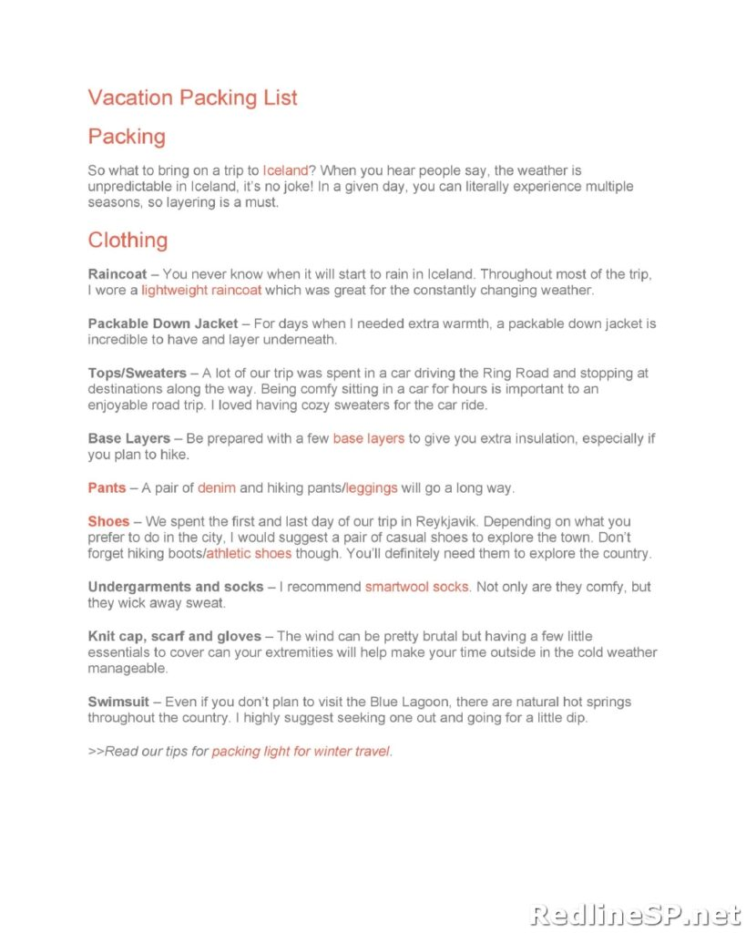 Packing List Template 10