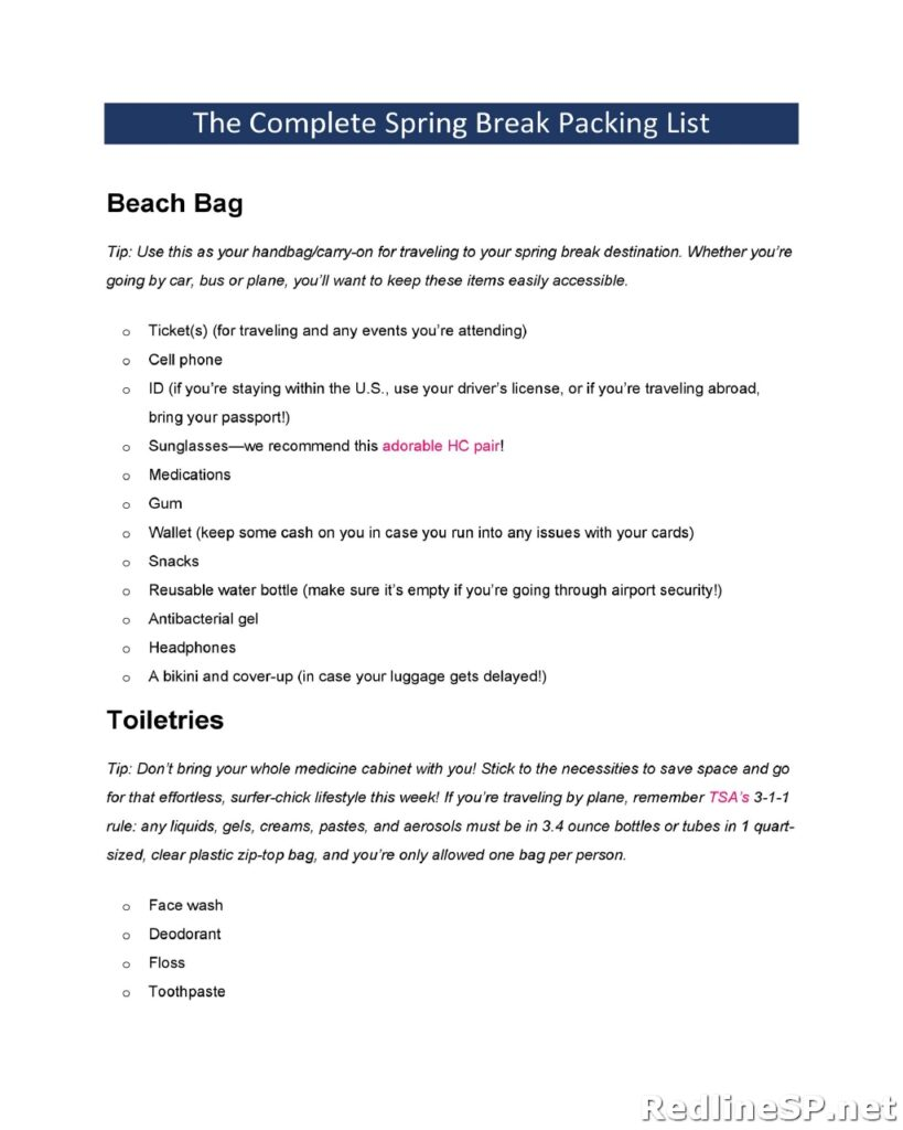 Packing List Template 15