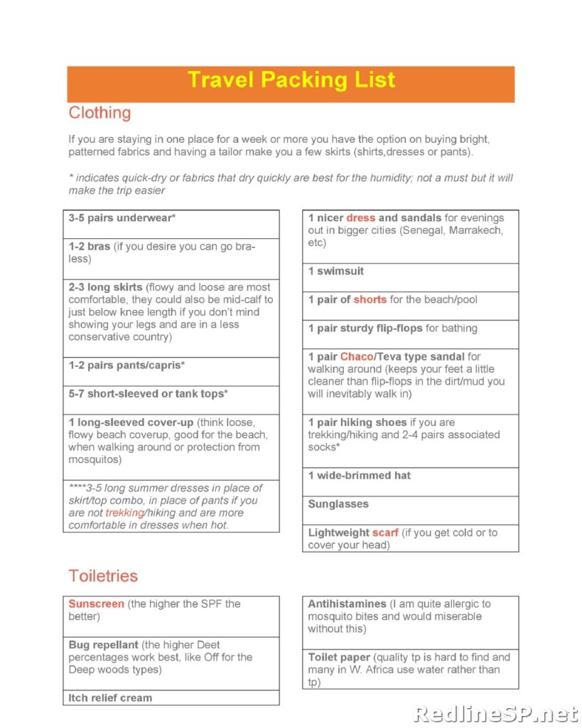 Packing List Template 18